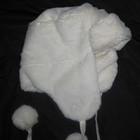 зимняя шапка ушанка белая, на 6-10 лет