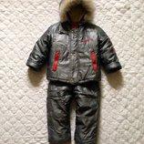 Комбинезон с курткой на овчине на 3-4 года. Польша. Зимний комбинезон с курткой.