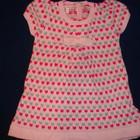 Вязаное розовое теплое платье для девочки на короткий рукав с бантиком 74 см, 9 месяцев