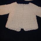 Белая кофта реглан на девочку на пуговичках 0-6 месяцев, 1 год, вязка