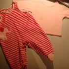 Тёплые ползунки, комплект ползунки и кофточка на девочку, 6 месяцев розовый ,полоска