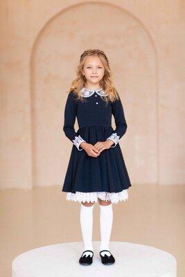 Школьное платье для девочек в школу, школьная форма 116 122 128 134 140 146 152 158 164 синий