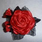 брошь ручной работы красная роза