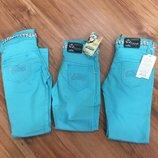 Котоновые голубые брюки с ремнём для девочки