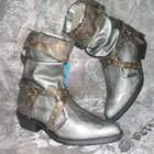 Красивые серебристые Деми,сапожки-Казачки FLAMINGO 24.5 см