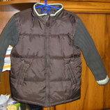 Ветровка на флисе, деми куртка с трикотажными рукавами, рост 110-116,128