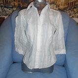 Блузка бело-голубая в полоску размер 44-46