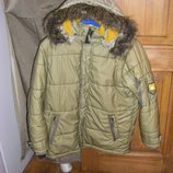 Теплая куртка защитного оливкового цвета осень-зима, рост 140-146 см