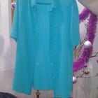 Блузка женская с коротким рукавом на пуговицах, яркая бирюза.