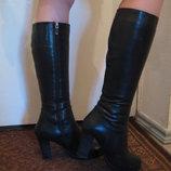 Шкіряні зимові чоботи на натуральній цегейці, 40 розмір