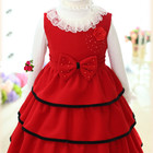 Нарядное, теплое, красивое Красное платье с биретом для девочки