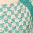 мятный теплый вязаный шерстяной свитер шахматки мята