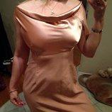 Платье вечернее цвета Чайной Розы с Атласным верхом 46-48
