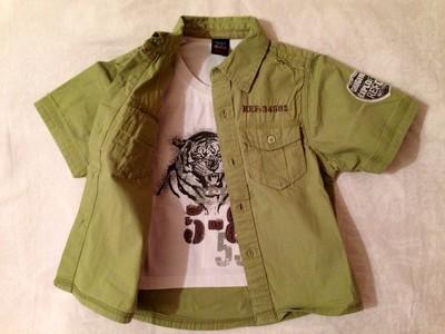 Рубашка - обманка с футболкой Next на 3-4 года. Стильная, коттоновая, милитари.