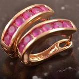 Серьги ЗОЛОТО 18К Gold Filled золото и рубин