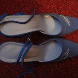 Цена снижена Очень дорогие элитные замшевые синие туфли 39 р.