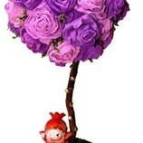 Топиарий. Цветочное дерево с яркими бумажными розами