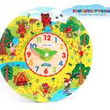 Качественные деревянные часы, игра-вкладка с мультгероями