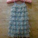Нежный сарафан Gap. 4-5-6 лет. Трикотажное платье. Кружево, рюши. Нарядное, стильное платье, шорты
