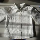 Белая рубашка на длинный рукав, 12-18 мес, 2 года