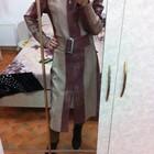 Очень красивое кожаное пальто - кардиган фирменное р-р от Хс до М-Ки