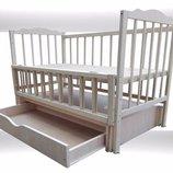 Детские кроватка Бела граб, с ящиком шарнир маятник 1100 грн