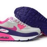 Женские кроссовки Nike Air Max 90 - серо-синие розовый