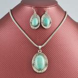 НАБОР Колье и серьги Тибетское серебро Бирюза