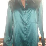 Ог 110 см Атласная зеленая рубашка блузка NEXT