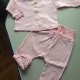 Костюм, набор розовый кофточка и ползунки , 0-6 месяцев