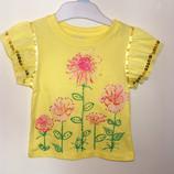 Желтая футболка early deys на 9-12 мес