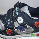 Кроссовки светлячки синие вставки мальчикам 20 - 25