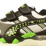 Кроссовки светлячки зеленые вставки мальчикам 20-25