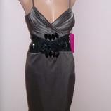 Атласное платье с кружевной вставкой р. 42- 44
