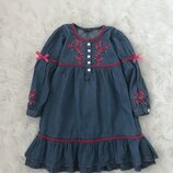 Шикарное стильное платье с вышивкой 5-6 лет. Швейцария. Вышиванка. Нарядное, красивое, цветы