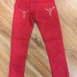 Котоновые красные брюки с ремнём для девочки