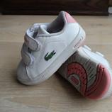 продам кроссовки на девочку лакоста стелька13,3см. кожаные белые розовые новые