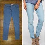 Новые голубые джинсы скинни, высокая посадка р.30
