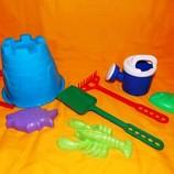 Песочный набор для песочницы пасочки,лопатка,грабельки, лейка,ведро . Замок