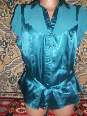 Ог 114 см Сток Атласная рубашка блузка Bhs наш 50/52 бирюзовая