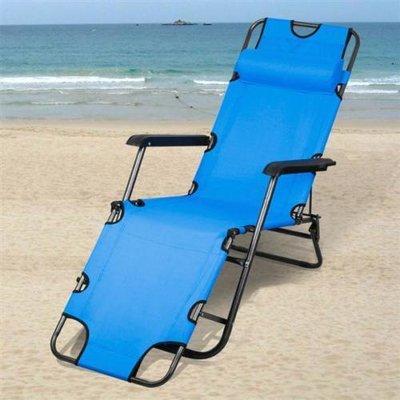 Шезлонг для дачи, кресло-шезлонг раскладной Welfull YZ22003 синий