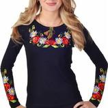Женская футболка с вышивкой длинный рукав