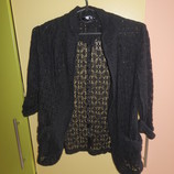 Жакет, пиджак гипюр черный С-ка, ХС-ка 12-13 лет, 152-158 см.