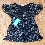 блуза в мелких бабочках, р-р XL, батал, большой размер, блузка майка туника футболка кофта