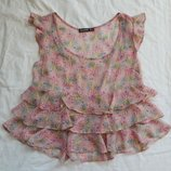 розовая блузка в цветочек, р-р M-L, блуза майка туника футболка кофта