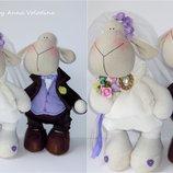 Нежные свадебные овечки - интерьерные игрушки