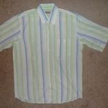 Тенниска рубашка белая в полоску льняная р.42 рост 182-188