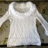 Нарядный ажурный свитер р. 48. Ручная вязка.