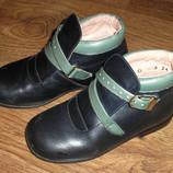 Демисезонные кожаные ботинки для девочки, р. 24