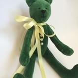 Зеленый бархатный мишутка, ручная работа оригинальный подарок тильда день рождения